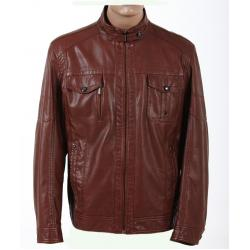 China Trendy and Dark Red / Yellow Young Mens Designer Leather Jackets with Two side Pockets on sale