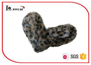 Leopard Faux Fur Winter Hand Gloves , Polar Fleece Lining Knit Winter Gloves