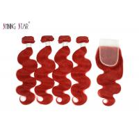 Vivid Red Wet Brazilian Human Hair Bundles With Closure For Women