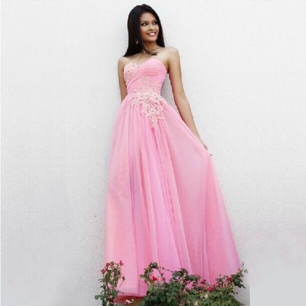 sexy sweetheart lace long prom dress 2014 bluepinkbeige
