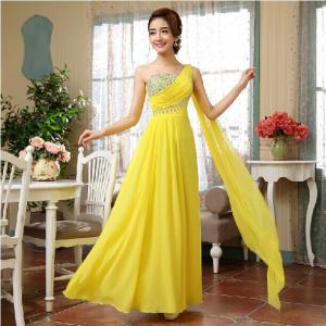 Sexy One Shoulder Long Evening Dress 2014 Elegant Chiffon Women ...