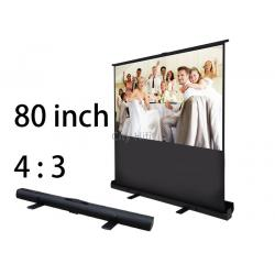 China Easy Clean 80 Floor Standing Roll-Up Projection Screen Portable Gain 1.1 on sale