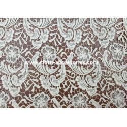 China Flower Heavy Cotton Lace Fabric Normal  Dyeing / 1.2M Chemical Embroidery Laces on sale