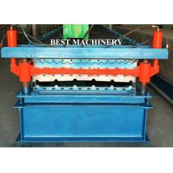 China Double Layer Color Coated Roofing Sheet Steel Profile Roll Forming Machine on sale