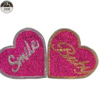 Eco Friendly Custom Made Embroidered Patches Non Woven / Glitter Material