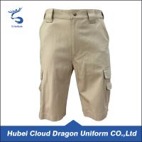 OEM Khaki color canvas work shorts , mens tactical shorts for training