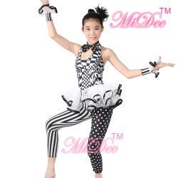 China Sleeveless Hip Hop Dance Costumes Halter Black / White Print Dance Unitard Outfits on sale