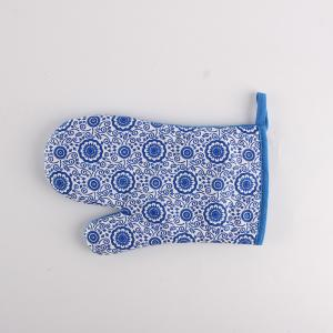 Housewife Gift Chic Blue Flower Printed Heat Resistant Oven Gloves