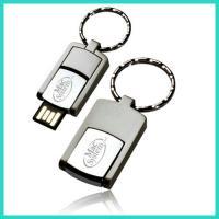 Metal mini slim usb flash swivel memory stick with a big metal key loop printing