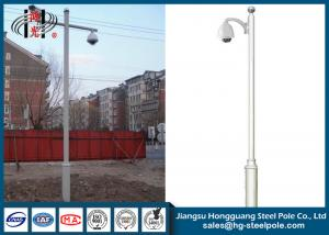 Hot Roll Steel Cctv Camera Mounting Poles , Telescopic CCTV Surveillance Camera Poles
