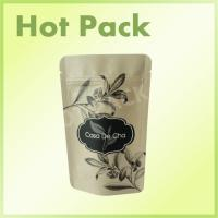 Resealable Stand Up Pouch Kraft Paper Bag With Zipper For Tea
