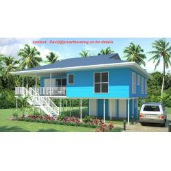 China Fireproof Two-Story Prefab Beach Bungalow , Blue Home Beach Bungalows on sale