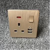 UK Power Independent Dual USB Wall Switch Socket For Apartment / Home