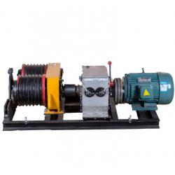 China Safe 5 Ton  Double Drum Electric Cable Pulling Winch Machine for Power Construction on sale