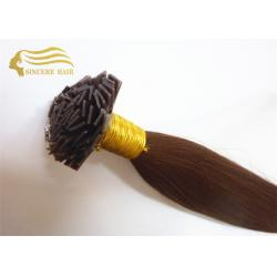 China 20 Dark Brown Pre Bonded Flat Tip Remy Human Hair Extensions 1.0 Gram / Strand For Sale on sale