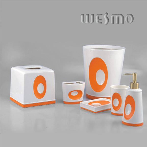 6 Piece Orange Porcelain Bathroom Accessories Sets Product Photos 6 Piece Orange Porcelain