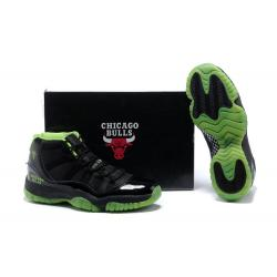China Retro Jordan 11 Black and Neon Green - Men Sneakers 675 on sale