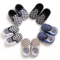 Hot sale Canvas Checkered breathable 0-2 years slip on infant baby boy shoes