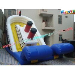 China Outdoor Large 0.55mm PVC tarpaulin Commercial Inflatable Titanic Slide for Kids Playing on sale
