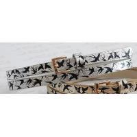 Metallic Shiny PU Childrens Designer Belts For Kids With Black Birds Printing In 1.10cm