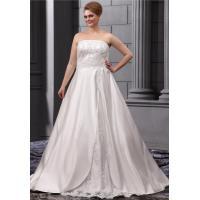 High End Front Split Design Plus Size Designer Wedding Gowns , Floor Length / Sleeveless