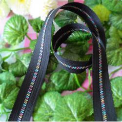 China Nylon Long Metal Rainbow Teeth Zippers 5# Black For Handbag Garment on sale