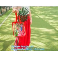 Shoulder Tote Pouch Clear PVC Beach Bag With Interior Pocket, jelly pvc women big design handbag shoulder sling bag of l