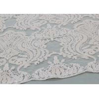 Ivory Sequin Lace Fabrics , Embroidered Bridal Lace Fabrics For Wedding Dresses