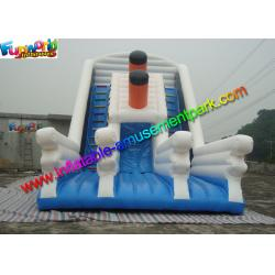 China Excellent Titanic White / Blue Inflatable Slip And Slide Party Use EN14960 on sale